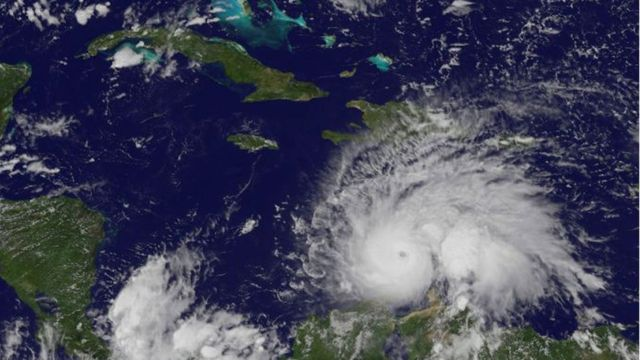 Una imagen de satélite del huracán Matthew