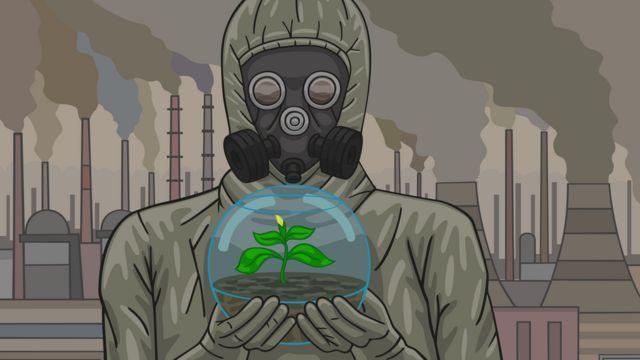 Ilustración de una persona con una máscara de gas y una planta