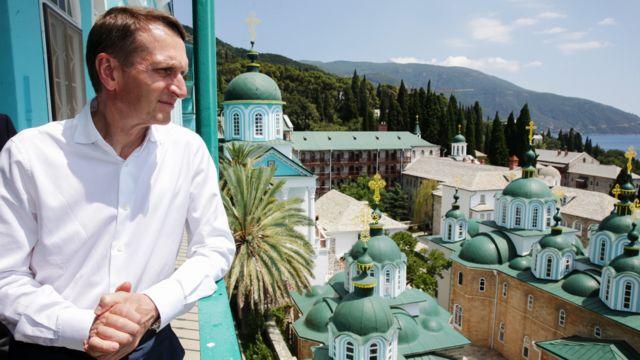 GREECE - JULY 5, 2016: Russian State Duma Chairman Sergei Naryshkin visits St. Panteleimon Monastery on Mount Athos