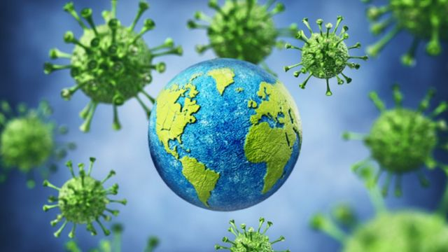 Imagem da Terra com vírus ao redor