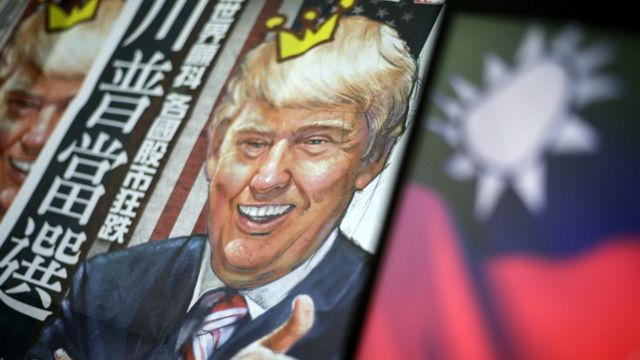 US President Donald Trump depicted on the cover of a Taiwanese newspaper