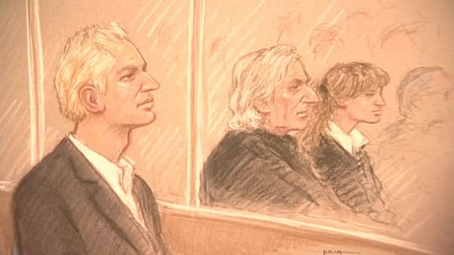 Julian Assange, fundador de WikiLieaks en juicio (dibujo)