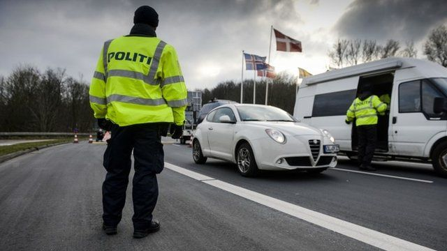 Border police checks at Danish border
