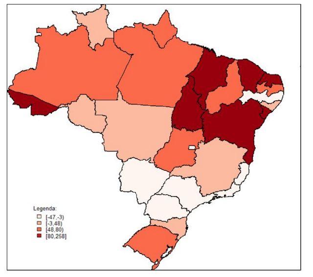 Mapa dos Estados brasileiros mostrando a variação das taxas de homicídio por local, entre 2006 e 2016. Quanto mais escura a região, maior o aumento.