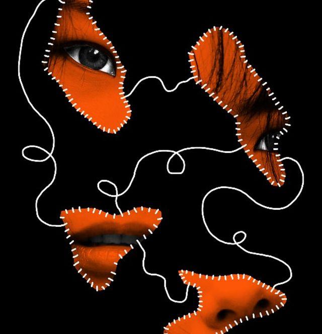 Ilustración que muestra el rostro fragmentado de una joven