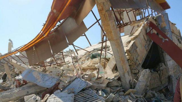 Damage at Medecins Sans Frontieres hospital