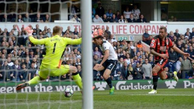 Son Heung-min au moment de marquer le deuxième but de Tottenham
