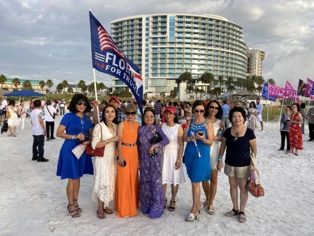 Truong Minh Anh trong một sinh hoạt ủng hộ Trump