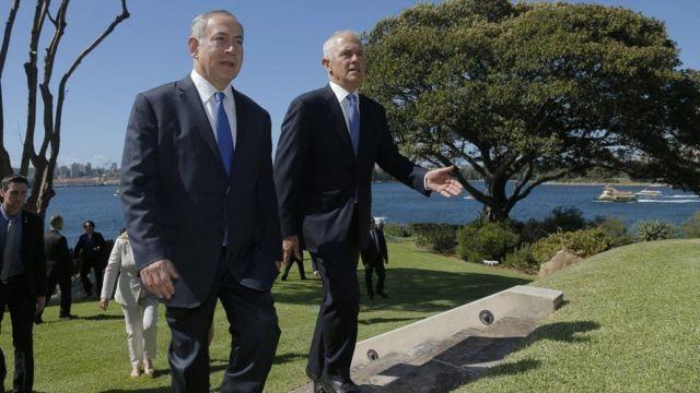 Ra'iisalwasaaraha Israa'iil Benjamin Netanyahu iyo dhigiisa Australia Malcolm Turnbull