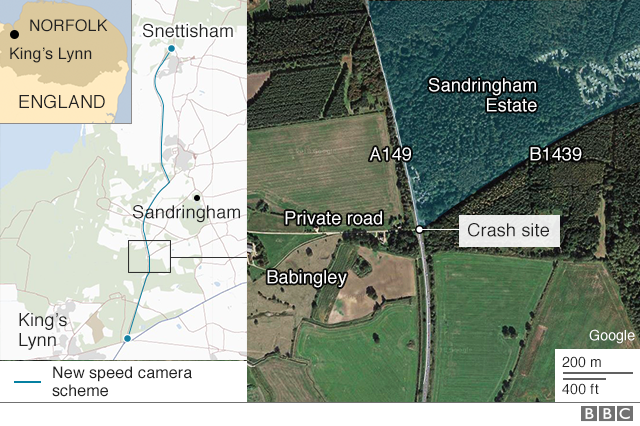 A map of where the Sandringham crash happened
