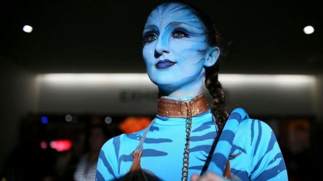 Emily Adamson dressed as a character from Avatar at the San Diego Convention Center during Comic Con International on July 20, 2017 in San Diego, California
