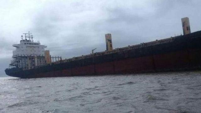 လူတဦးမှမရှိတဲ့ SAM Ratulangi ကုန်တင်သင်္ဘောကိုတွေ့ရစဉ်