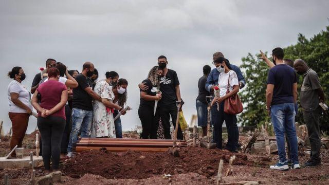 Entierro en Brasil. Familiares lloran la muerte por covid de de familiares.