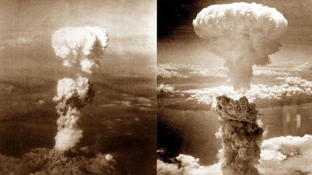 原爆のキノコ雲。左が広島、右が長崎