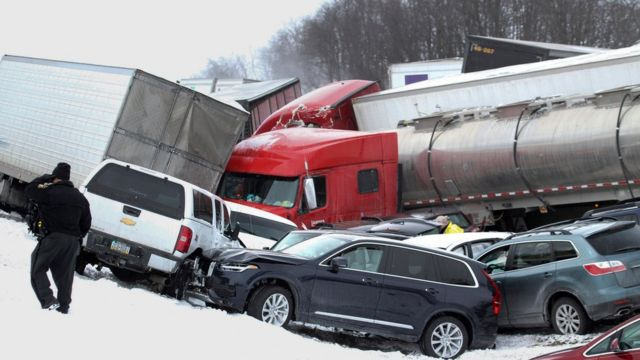At least three dead in 50-vehicle Pennsylvania pile-up