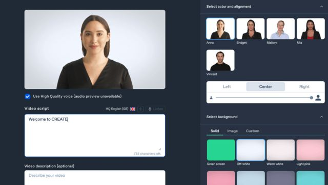 Synthesia's deepfake platform