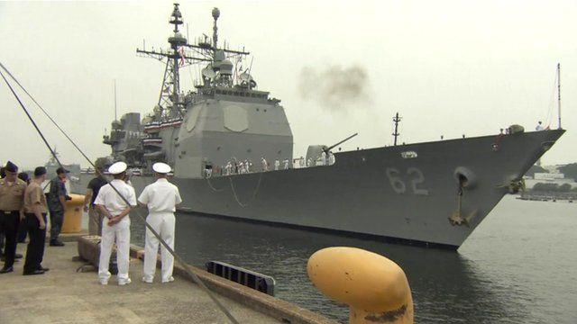 USS Chancellorsville docked at Japan's Yokosuka naval base