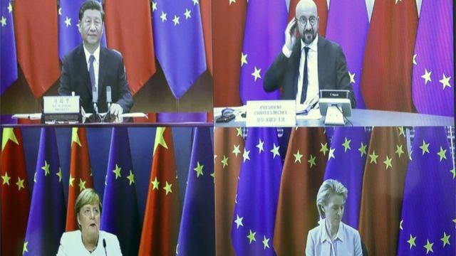德国政府取消了原定的实体会议,会议日程缩短为1天,且只有习近平、欧盟轮值主席国德国总理默克尔、欧洲理事会主席米歇尔、欧盟委员会主席冯德莱恩四人出席。
