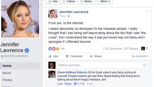 जेनिफर ने फेसबुक पर माफी मांगी