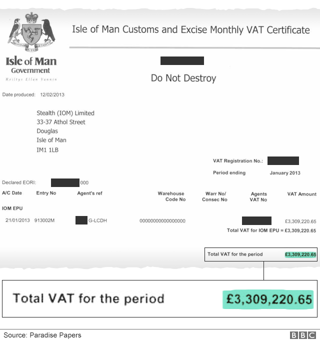Document extract showing VAT refund