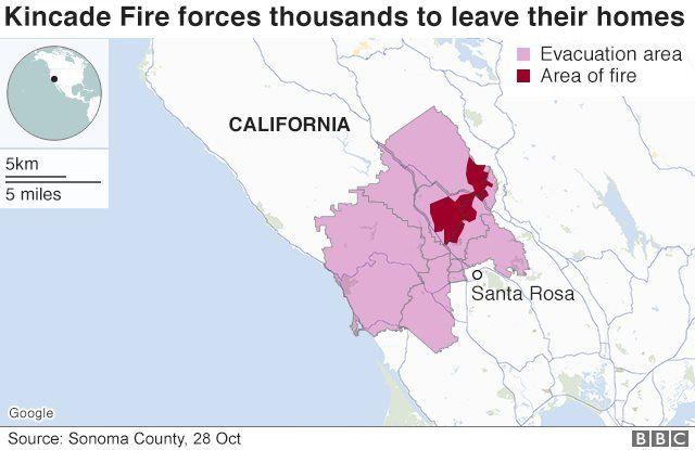 Kincade Fire menyebabkan ribuan orang meninggalkan rumah mereka.