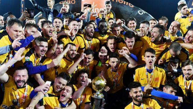 Los jugadores del Viitorul celebran la conquista del título rumano.