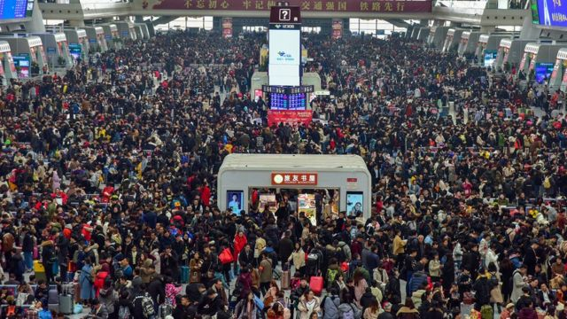 Crowded Chinese train station