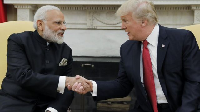 President Donald Trump shakes hands with Indian Prime Minister Narendra Modi as they begin a meeting in the Oval Office of the White House in Washington, June 26, 2017