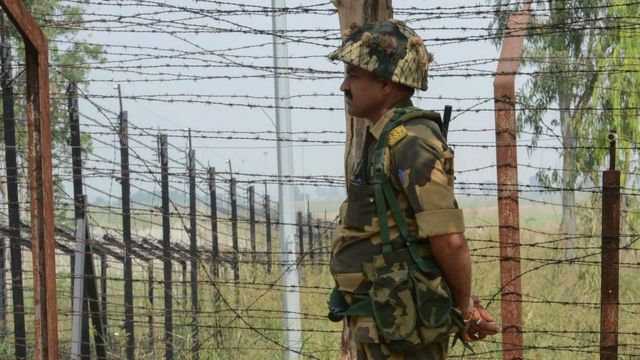An Indian Border Security Force (BSF) soldier,India-Pakistan border Chakri post