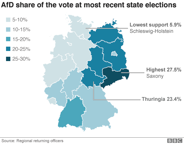 Map of Germany showing AfD support