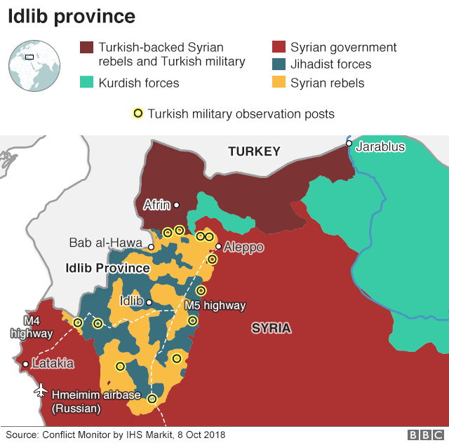 Map showing control of territory across Syria