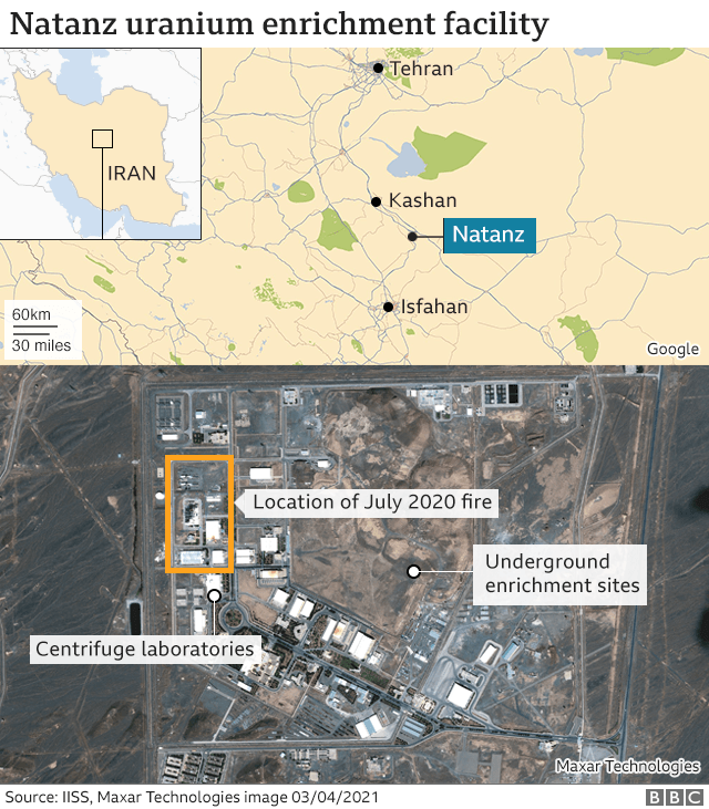 Map showing location of underground enrichment sites and July 2020 fire at Natanz uranium enrichment plant, Iran