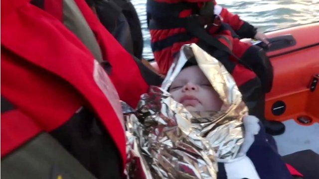 Baby rescued from migrant boat