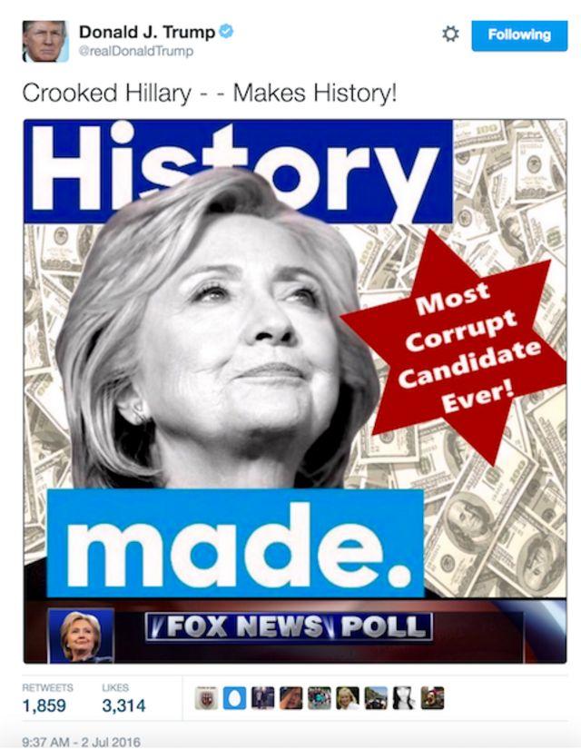 Tuit de Donald Trump sobre Hillary Clinton