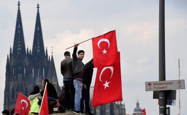 Thousands march in Germany in support of Turkey's President Erdogan