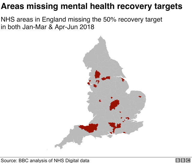 Map of areas missing health recovery targets in England