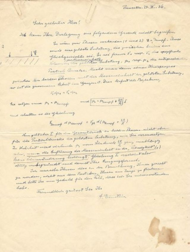 Carta de Albert Einstein valuada en US$47.000