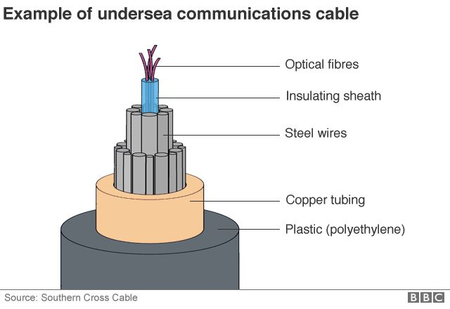 A BBC graphic showing a cross-section of an undersea communications cable