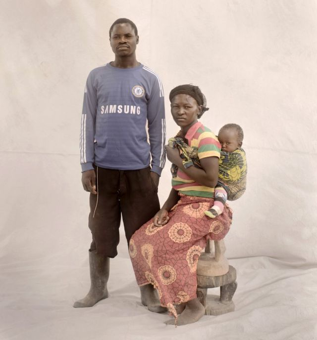 Thandiwe with her husband and daughter