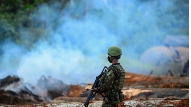 Soldado ao lado de madeira retirada ilegalmente da Amazônia