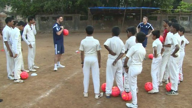 West Bromwich Albion coaching children in Delhi
