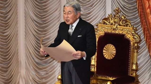Japanese Emperor Akihito delivers a speech during the opening ceremony of a 150-day ordinary Diet session in Tokyo on January 4, 2016.