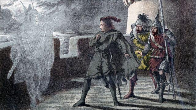 """Иллюстрация 1856-1858 гг. к трагедии Шекспира """"Гамлет"""", на которой принц датский встречается с призраком своего убитого отца"""