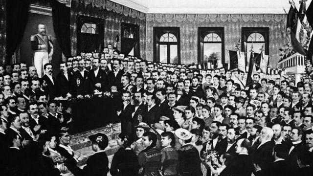 Pintura da sessão parlamentar que aboliu a escravidão no Ceará, em 1884