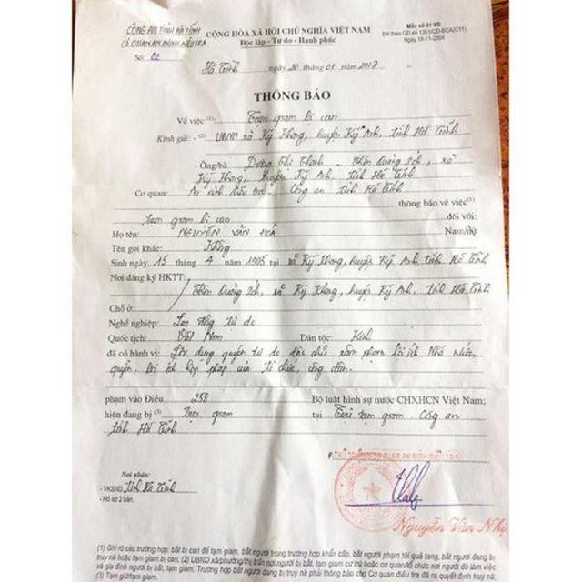 Thông báo Tạm giam bị can với Nguyễn Văn Hóa của Công an tỉnh Hà Tĩnh