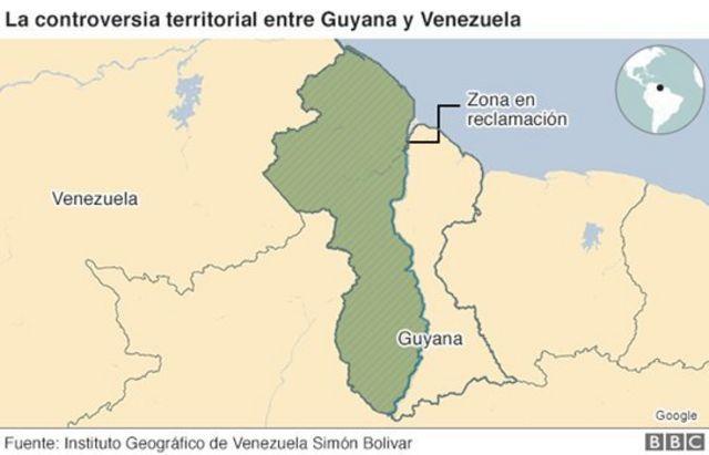 Mapa de la controversia territorial entre Guyana y Venezuela,