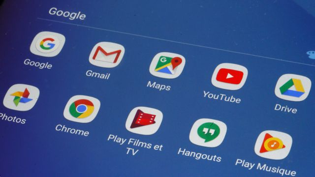 Google products on a smartphone