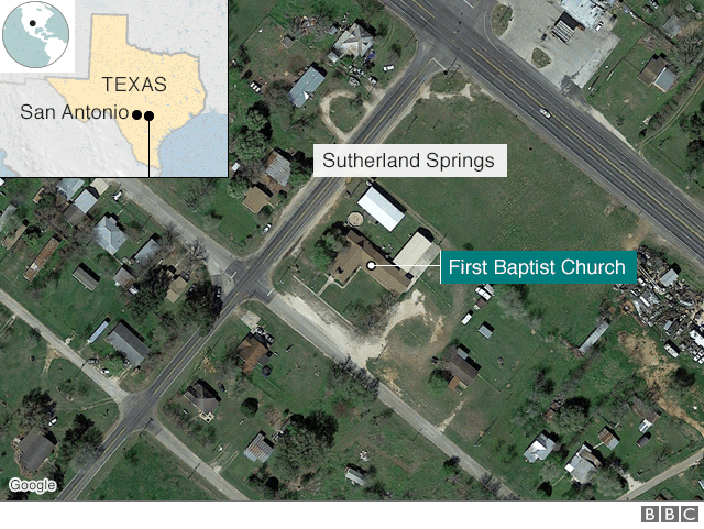 Map of Sutherland Springs Area