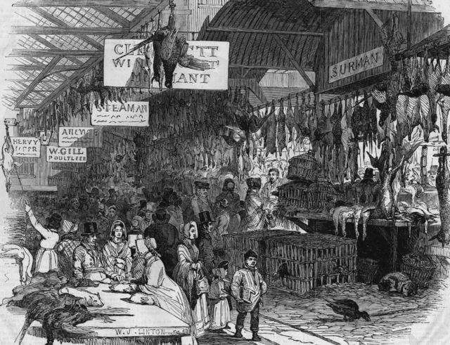 """1845年圣诞夜——利德贺市场办""""年货""""的人"""