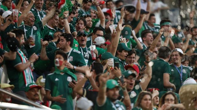 Mexican fans celebrate at a World Cup game